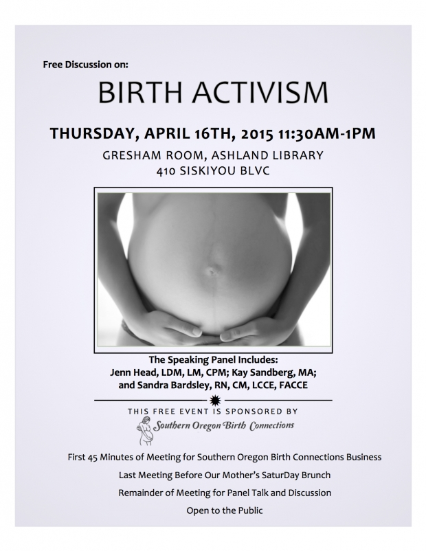 Third Thursday SOBC Meeting and Panel Discussion: Birth Activism!